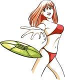 La fille sur une plage avec un frisbee Photographie stock libre de droits