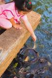 La fille thaïlandaise alimente des poissons Image stock