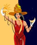 La fille tient le soleil et la lune illustration stock