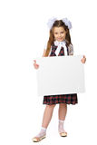 La fille tient une bannière Images libres de droits
