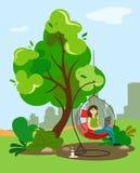 La fille travaille à l'ordinateur dans une chaise accrochante sous un arbre, derrière un panorama de la ville Illustration dans l illustration stock