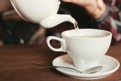 La fille verse une tasse de thé Photographie stock libre de droits