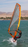 La fille windsurf en fonction, l'Egypte, Dahab Photos libres de droits