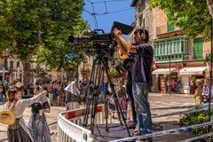 La filmación amarra y el festival de los cristianos - fiesta de Moros y Cristianos, Soller, Mallorca Imágenes de archivo libres de regalías
