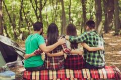 La fin a cultivé la vue arrière du sitti serein de quatre amis de touristes Images stock