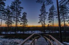 La fin d'un jour sur une traînée vers un lac Photographie stock libre de droits