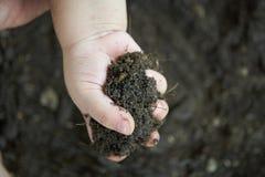 La fin vers le haut de la main d'enfant portent la terre noire et végétale Photos stock