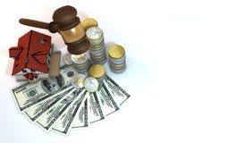 la finanza 3d circa l'asta della casa stronca la disposizione Immagine Stock Libera da Diritti
