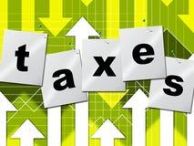 La finanza del grafico rappresenta l'imposta sul reddito ed i dati Fotografia Stock Libera da Diritti