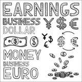 La finanza ed i soldi di tiraggio della mano scarabocchiano l'affare di schizzo illustrazione di stock