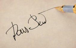 La fine dell'impronta alta e penna di fontana. Fotografia Stock