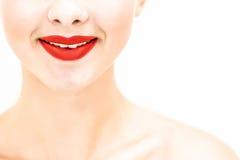 La fine della donna su che sembrano diritta e sorridere Fotografie Stock Libere da Diritti