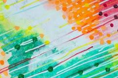 La fine multicolore di struttura della pittura acrilica dell'estratto su con le linee diagonali cade la perdita Fondo di arte con fotografia stock libera da diritti