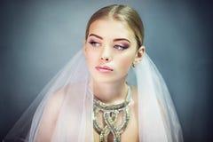 La fine perfetta della sposa su compone il vestito dai capelli Fotografie Stock Libere da Diritti