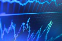 La fine su del grafico con la tendenza alta e giù tende Grafico di dati del fondo di finanza Fotografia Stock Libera da Diritti