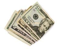 La fine su di folden i soldi americani Fotografia Stock Libera da Diritti