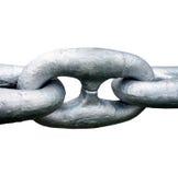 La fine su di grande acciaio spedisce la catena d'ancoraggio Immagine Stock