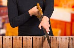 La fine su di tenuta delle mani ha visto il taglio di legno Immagini Stock