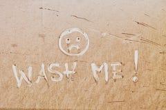 La fine su fango mi spruzza a partire dalla stagione delle pioggie per autolavaggio messaggio di testo Fotografia Stock Libera da Diritti