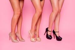 La fine su un ritratto di tre belle ragazze che mostrano le loro gambe regolari nude con una ha piegato il ginocchio su fondo ros Fotografie Stock Libere da Diritti