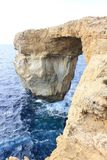 La finestra azzurrata Gozo Fotografie Stock