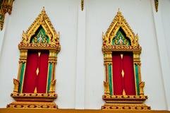La finestra del tempiale alla provincia del samutprakarn Immagini Stock