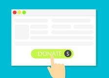 La finestra di browser con il bottone di donare Immagini Stock Libere da Diritti