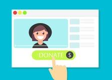 La finestra di browser con il bottone di donare Soldi per i videobloggers Fotografia Stock Libera da Diritti