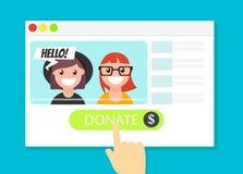 La finestra di browser con il bottone di donare Soldi per i videobloggers Immagini Stock