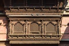 La finestra nepalese di legno ha chiamato Ankhi jhyal Fotografia Stock Libera da Diritti