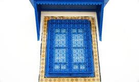 La finestra tipica ha decorato la finestra in Sidi Bou Said Fotografia Stock