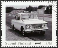 La FINLANDE - 2013 : élite de Moskvitsh d'expositions, voiture de police officielle de vintage de la Finlande de série Photographie stock