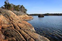 La Finlande : Côte de la mer baltique Images libres de droits