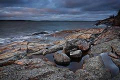 La Finlande : Côte de la mer baltique Image libre de droits