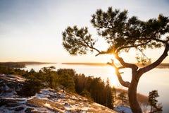 La Finlande, Helsinki, automne en retard Mer baltique, baie Photos libres de droits