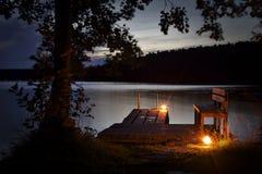 La Finlande : Lac et expérience de sauna Images libres de droits