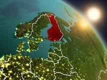 La Finlandia da spazio durante l'alba Immagini Stock Libere da Diritti