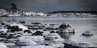 La Finlandia: Litorale congelato Immagini Stock Libere da Diritti