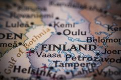 La Finlandia sulla mappa Immagine Stock