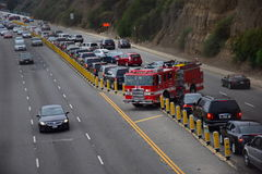 LA Fire Engine Plow Through Heavy Traffic and Turn Around Royalty Free Stock Photo