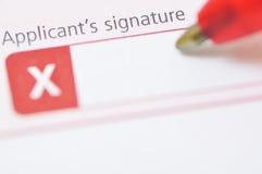 La firma del candidato Imágenes de archivo libres de regalías