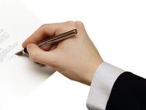 La firma del contrato del asunto Imagen de archivo libre de regalías