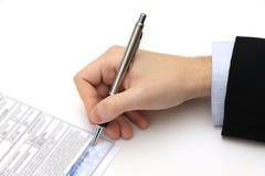 La firma del contratto di affari Immagine Stock