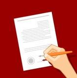 La firma del documento Imagen de archivo libre de regalías