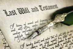 La firma por último y testamento fotos de archivo libres de regalías