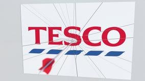 La flèche de tir à l'arc casse la glace avec le logo de société de TESCO Animation éditoriale conceptuelle de problématique de l' banque de vidéos
