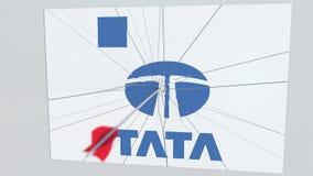 La flèche de tir à l'arc frappe le plat avec le logo de TATA Animation éditoriale conceptuelle de problèmes d'entreprise banque de vidéos