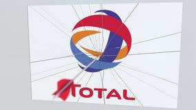 La flèche de tir à l'arc frappe le plat avec le logo TOTAL Animation éditoriale conceptuelle de problèmes d'entreprise banque de vidéos