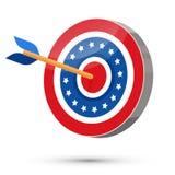 La flèche a frappé au centre de la cible des Etats-Unis Images stock