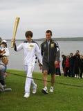 La flamme olympique atterrit chez John o'Groats, Ecosse Image libre de droits